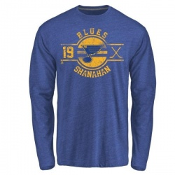 Men's Brendan Shanahan St. Louis Blues Insignia Tri-Blend Long Sleeve T-Shirt - Royal